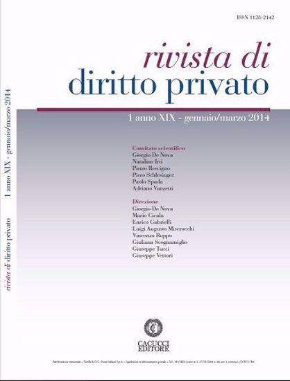 Immagine di Rivista di diritto privato -Anno XIX, n.1