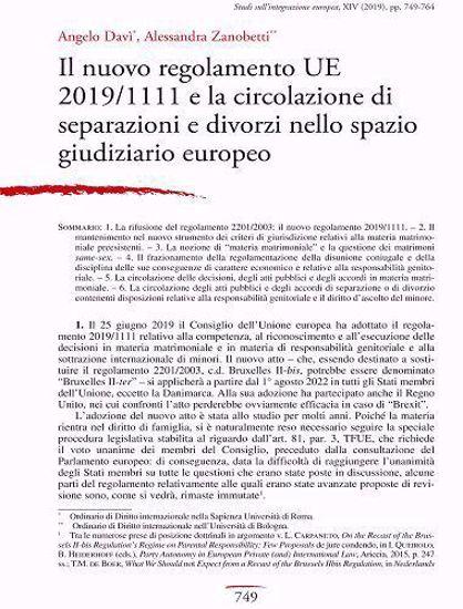 Immagine di Il nuovo Regolamento UE n. 1111/2019 e la circolazione di separazioni e divorzi nello spazio giudiziario europeo