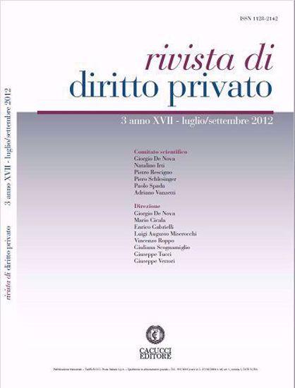 Immagine di Rivista di diritto privato - Anno XVII, n.3